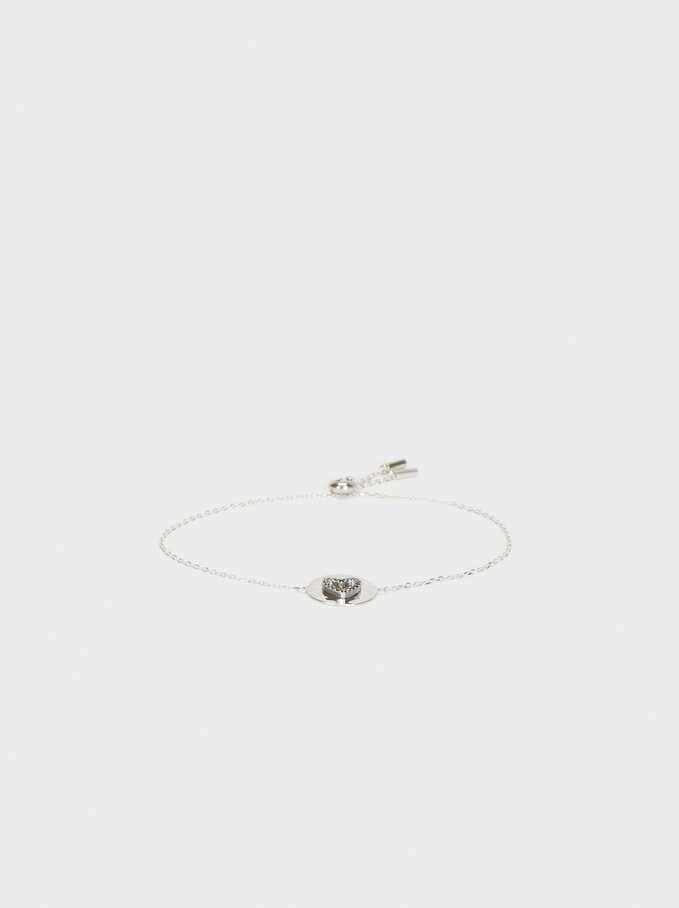 925 Silver Adjustable Heart Bracelet With Zirconia, Silver, hi-res