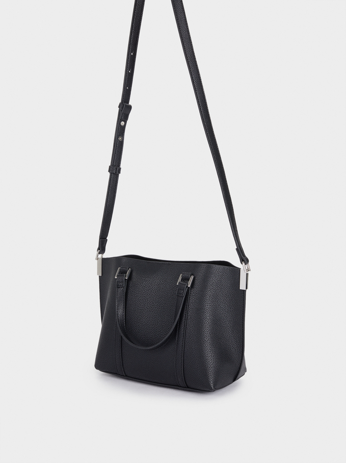 Tote Bag With Shoulder Strap, Black, hi-res