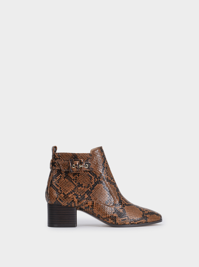 Buckled Ankle Boots, Brown, hi-res