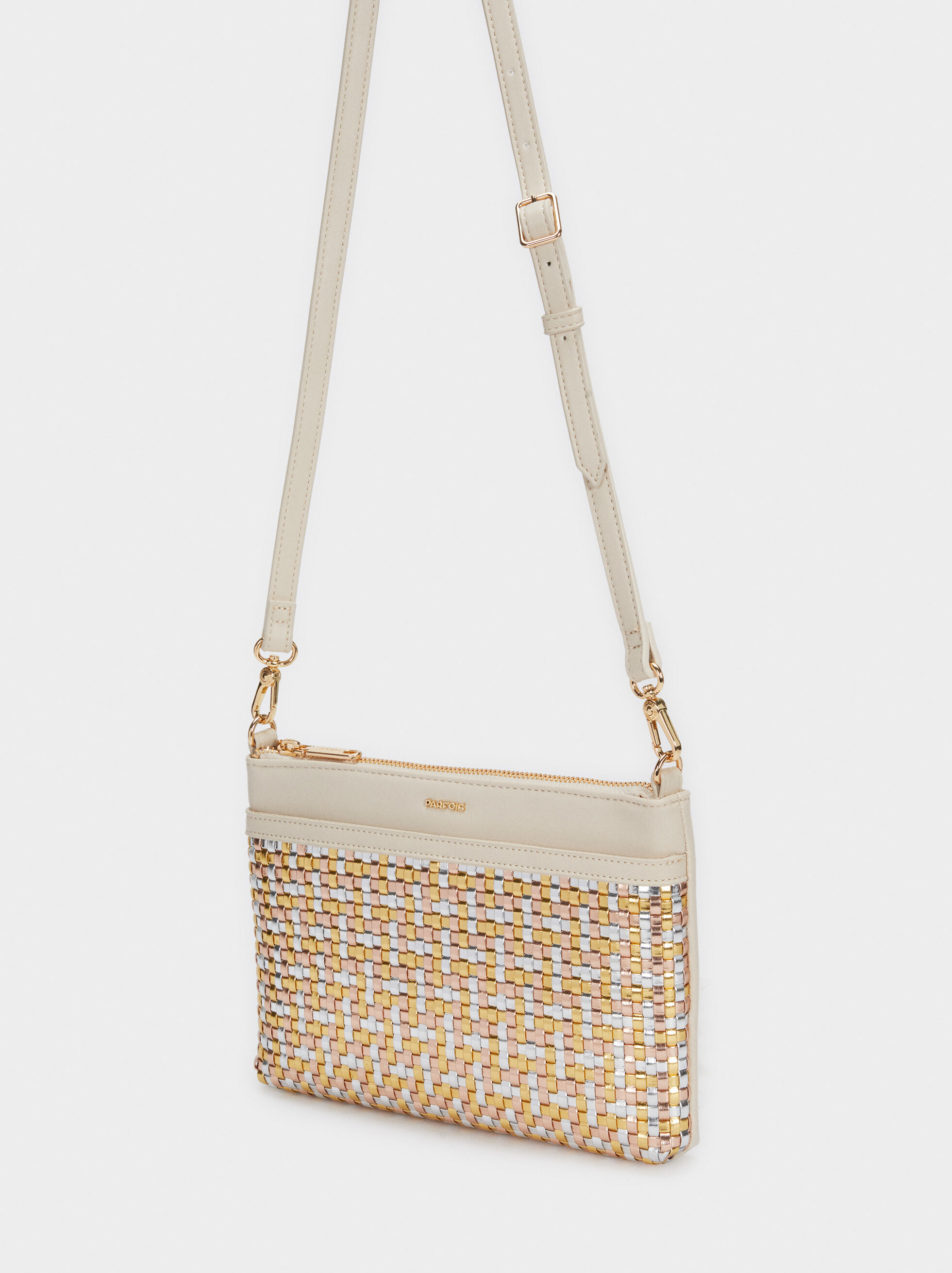 Braided Crossbody Bag, Beige, hi-res