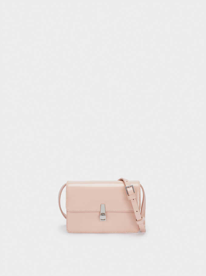 Party Crossbody Bag With Flap Fastening, Pink, hi-res