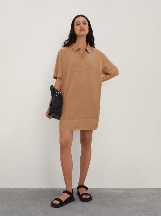 Dress With Lyocell Zip, Camel, hi-res