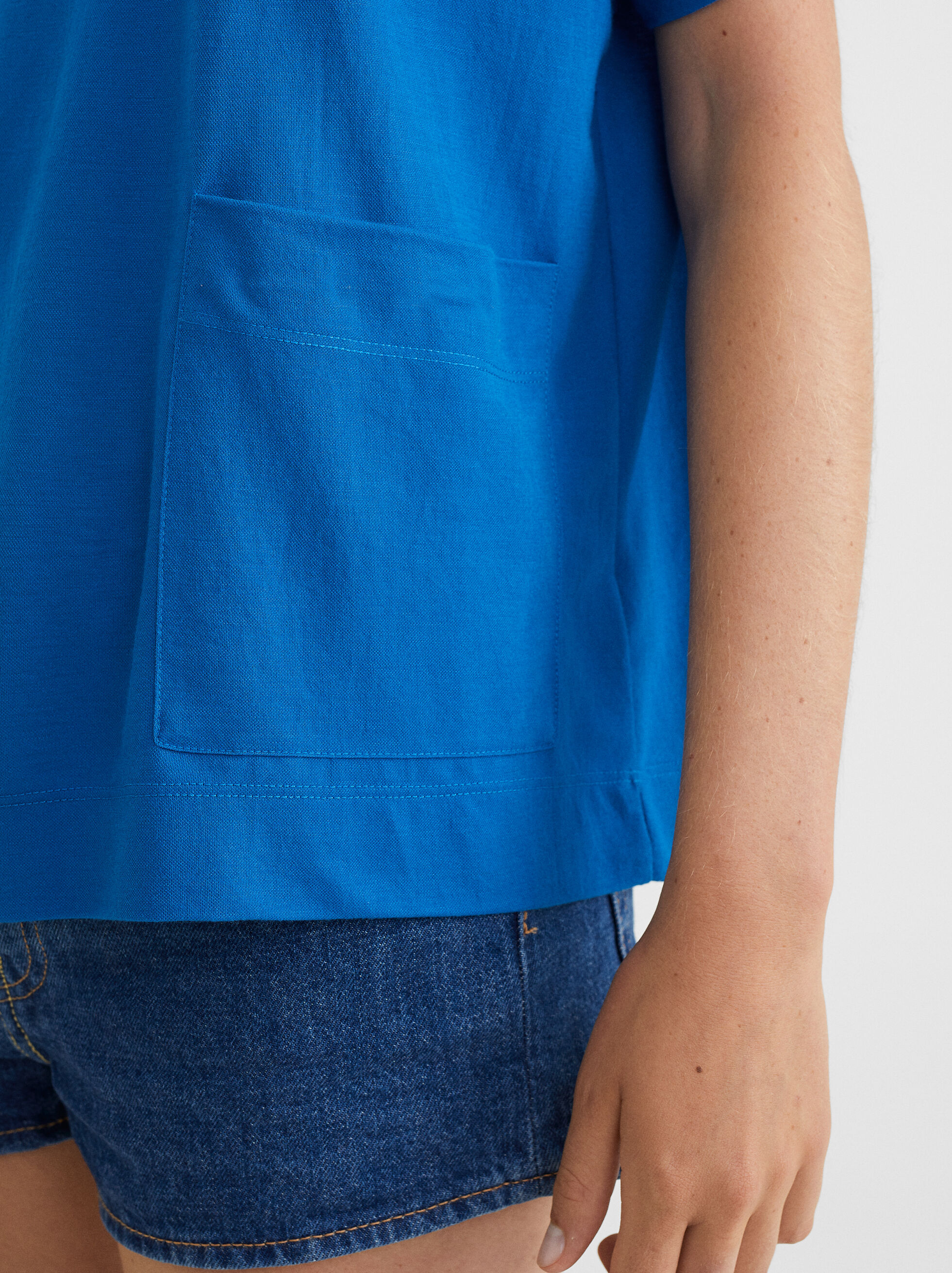 Basic Round-Neck T-Shirt, Blue, hi-res