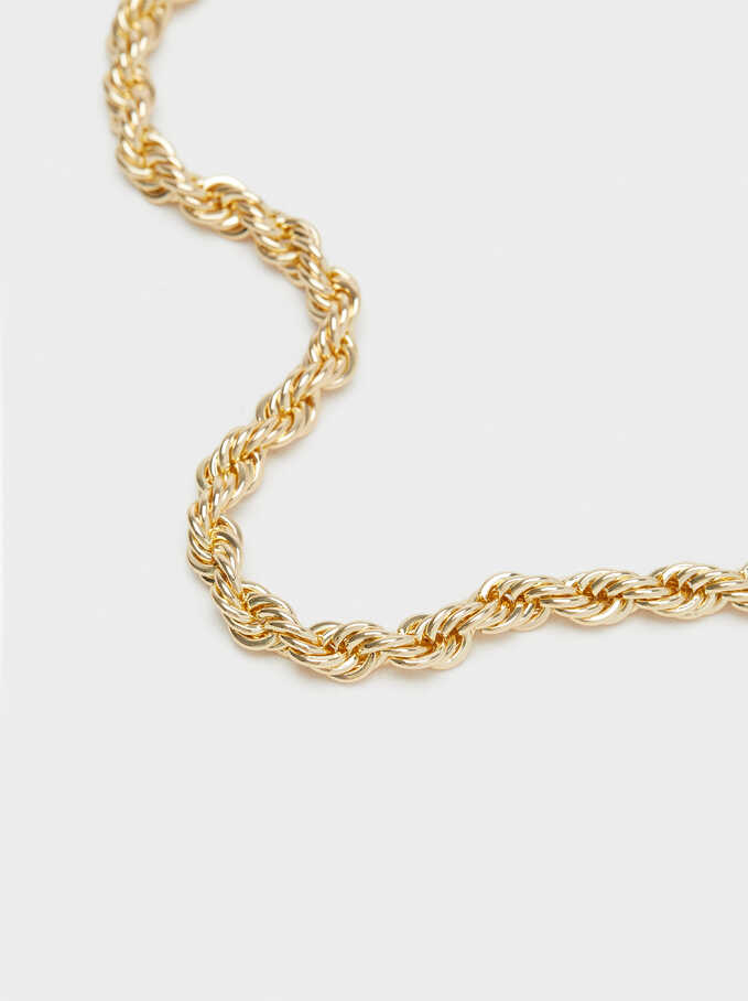Basic Short Necklace, Golden, hi-res