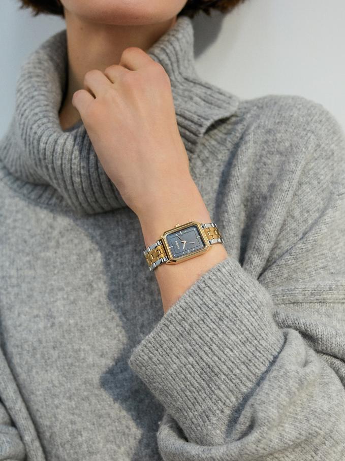 Zegarek Z Kwadratowa Tarcza, Zloty, hi-res