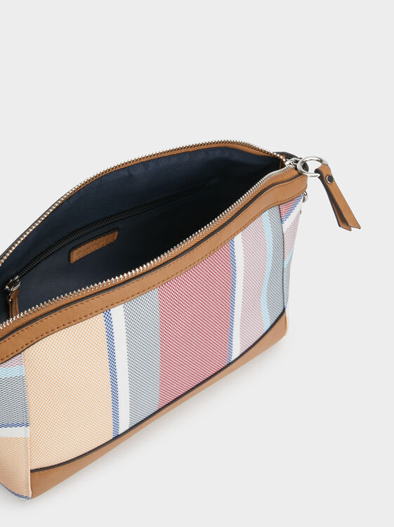 Striped Crossbody Bag, Pink, hi-res