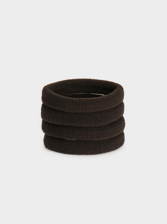 Basic Hair Tie Set, Brown, hi-res
