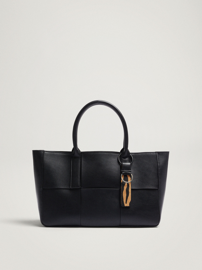 Woven Tote Bag With Removable Interior, Black, hi-res