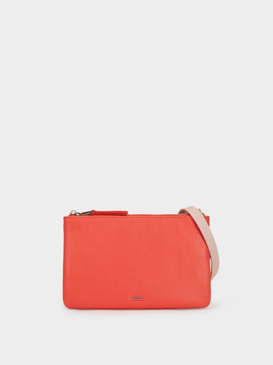 Three-Tone Crossbody Bag, Coral, hi-res