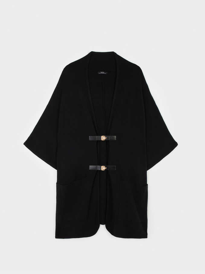 Poncho With Pockets, Black, hi-res