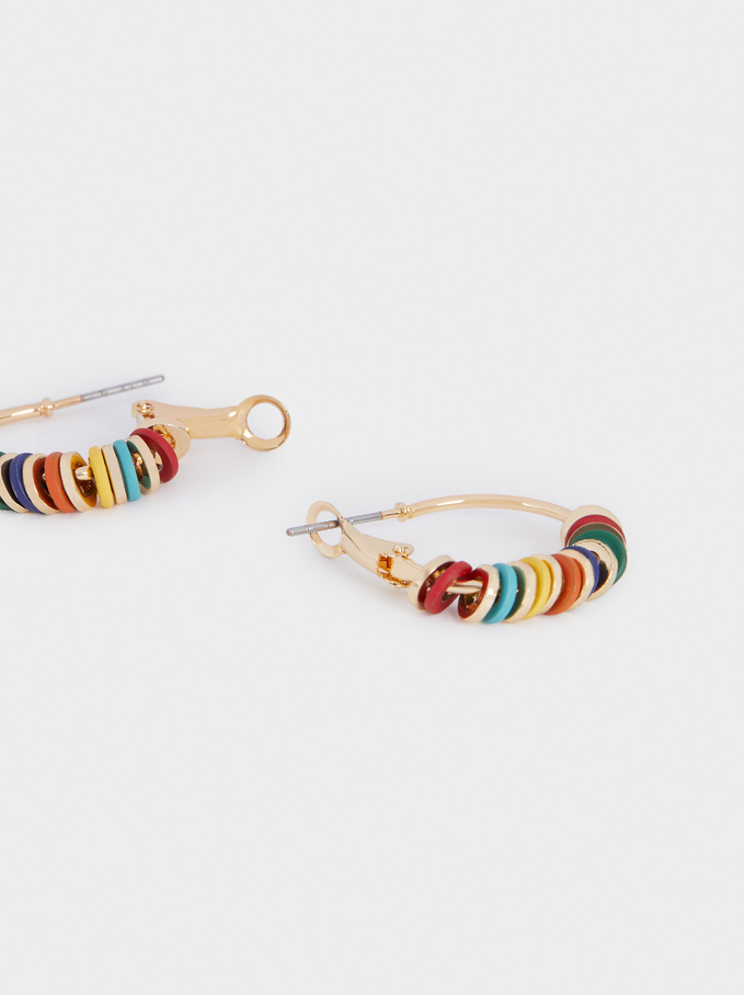Hoop Earrings With Stones, Multicolor, hi-res