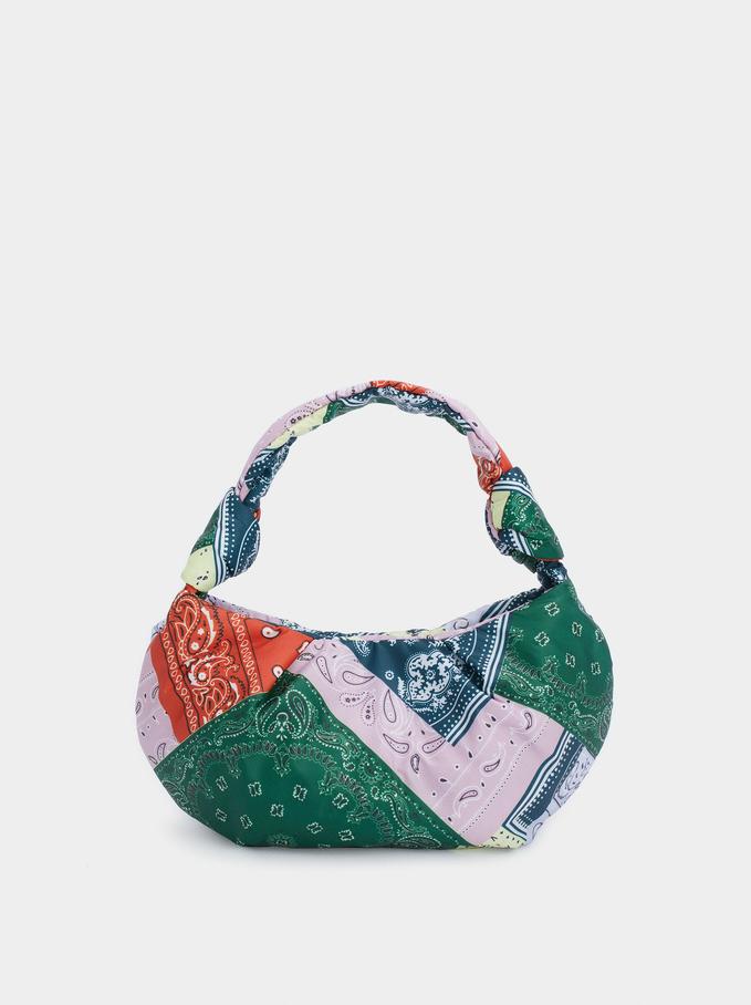 Nylon Printed Shoulder Bag, Multicolor, hi-res