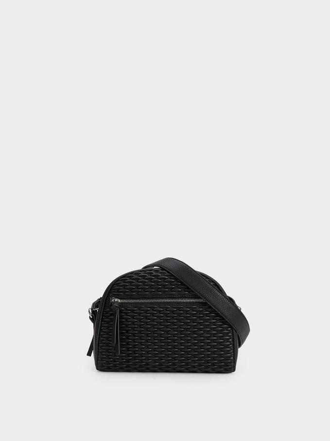 Braided Crossbody Bag, Black, hi-res