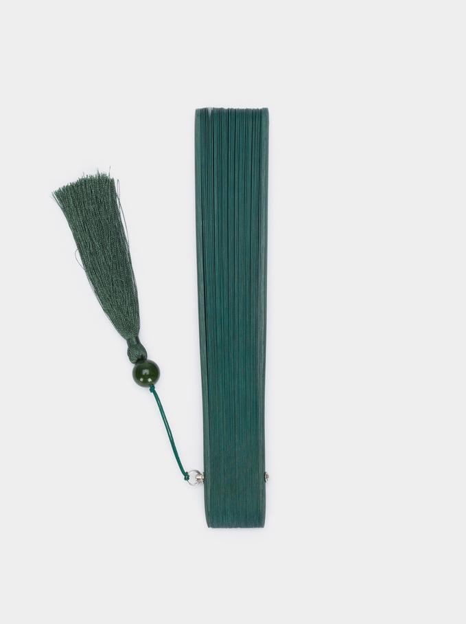 Leque Perfurado Com Pendente, Verde, hi-res