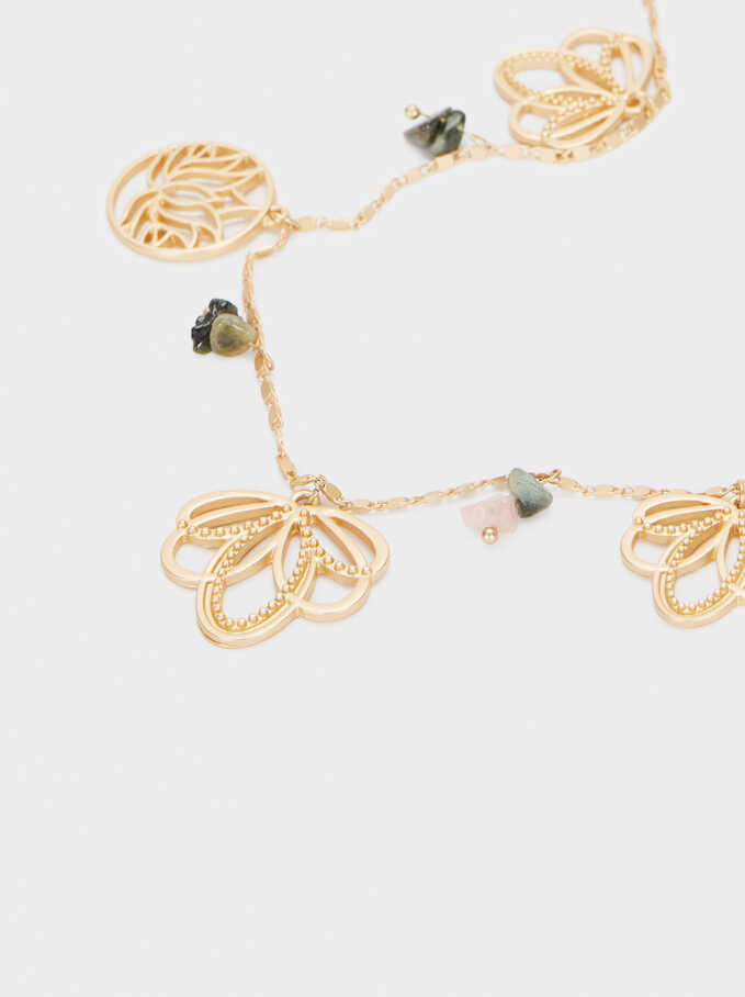 Short Gold Necklace With Flowers And Stones, Golden, hi-res