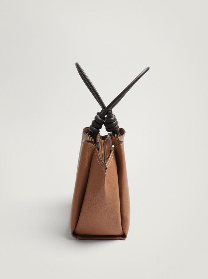 Shoulder Bag With Knotted Handle, Camel, hi-res