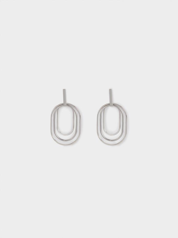 Long Silver Earrings, Silver, hi-res