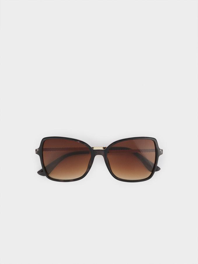 Okulary Przeciwsloneczne W Kwadratowej Oprawce, Brazowy, hi-res