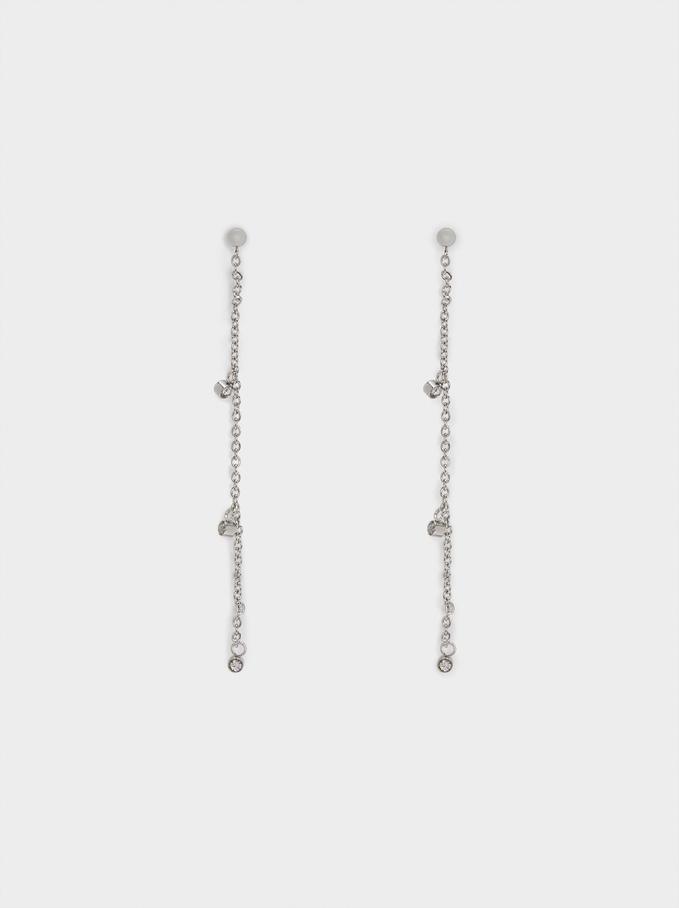 Silver Stainless Steel Long Earrings, Silver, hi-res
