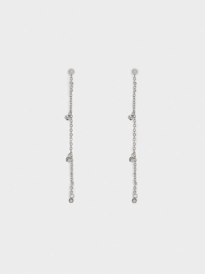Long Golden Stainless Steel Earrings, Silver, hi-res