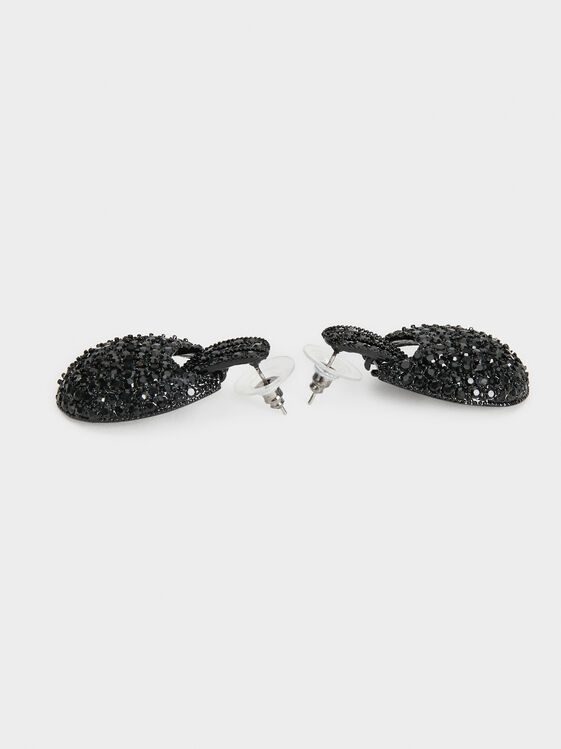 Star Dust Medium Bejewelled Earrings, Black, hi-res
