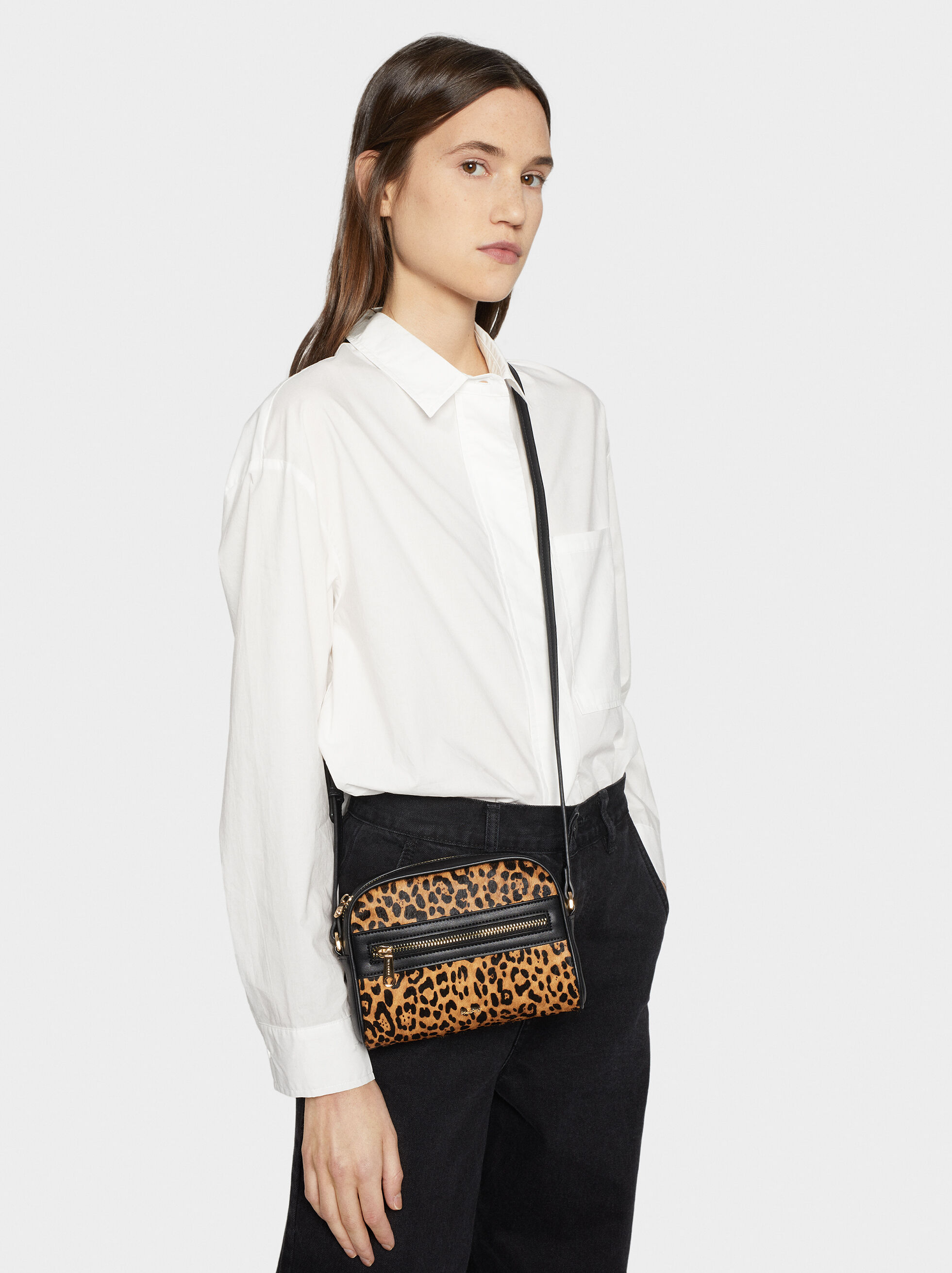 Animal Print Crossbody Bag, Black, hi-res