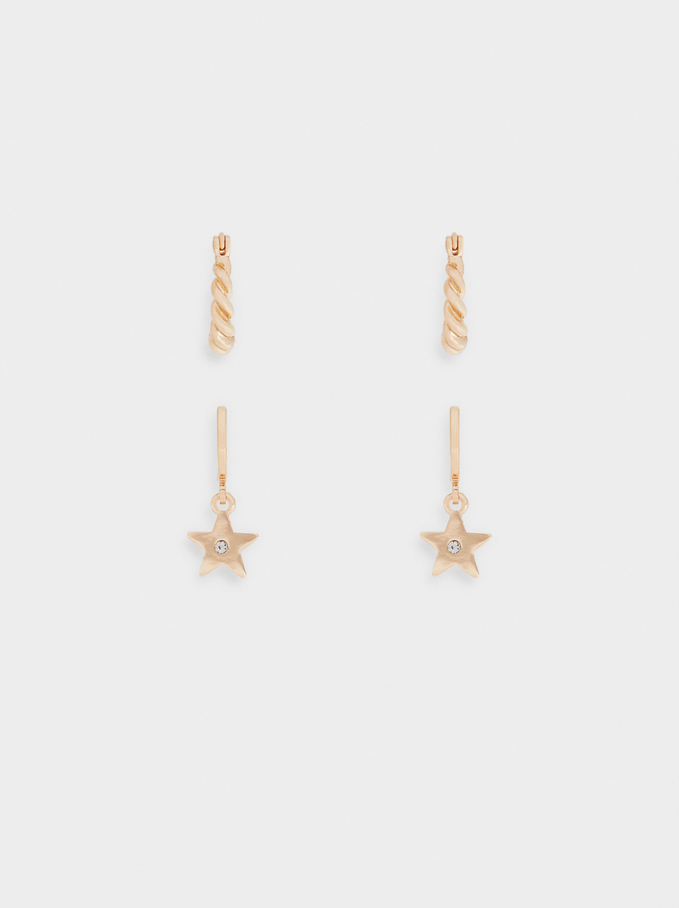 Set Of Earrings With Stars, Golden, hi-res