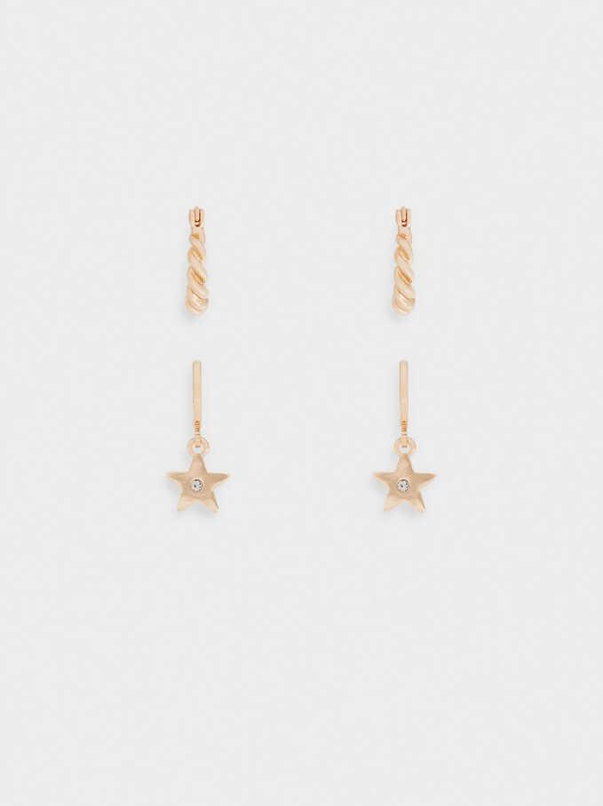Conjunto De Pendientes Con Estrellas, Dorado, hi-res