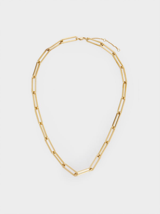 Short Steel Chain Necklace, Golden, hi-res