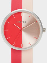Watch With Two-Tone Strap, Pink, hi-res