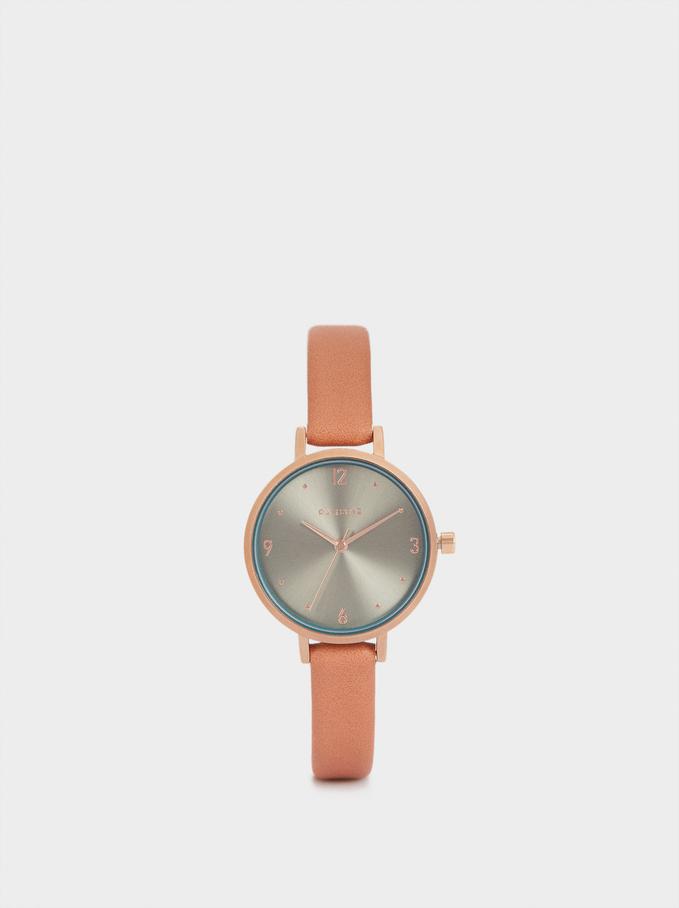 Zegarek Ze Skórzanym Paskiem Z Tekstura, Rózowy, hi-res