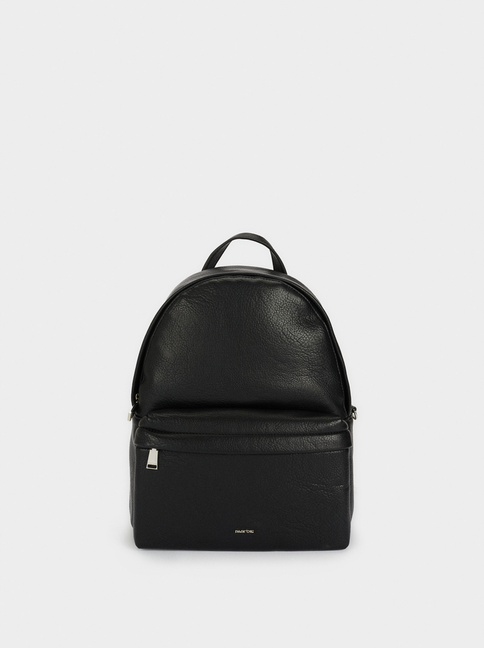 Backpack With Chain Detail Outside Pocket, Black, hi-res