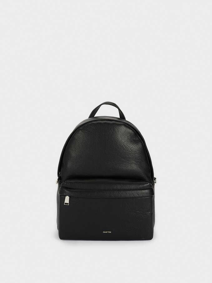 Backpack With Chain Detail Outside Pocket, Black, hi-res