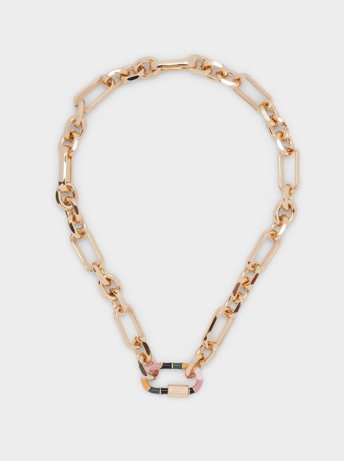 Short Chain Link Necklace, Multicolor, hi-res