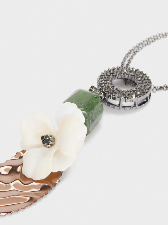 Long Necklace With Flower And Crystals, Multicolor, hi-res