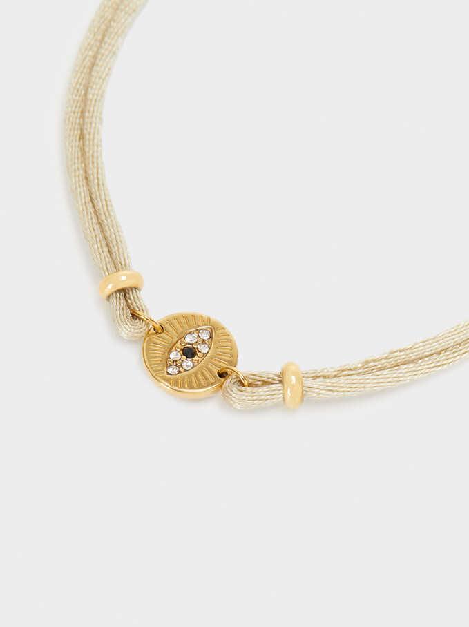 Adjustable Stainless Steel Bracelet With Gemstones, Beige, hi-res