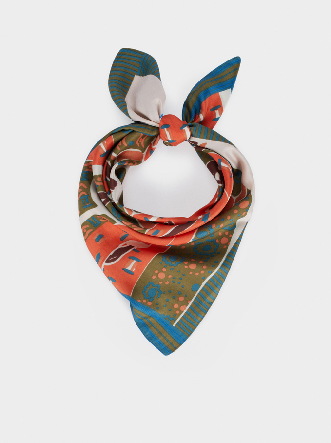 Printed Square Neckerchief, Multicolor, hi-res