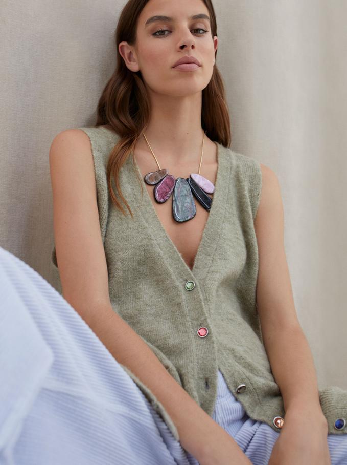 Short Necklace With Pendants, Multicolor, hi-res