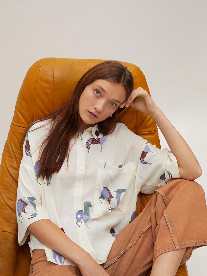Flowing Animal Print Shirt, Ecru, hi-res