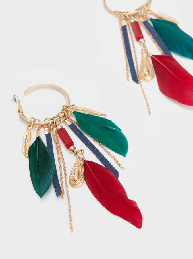 Hoop Earrings With Feathers, Multicolor, hi-res