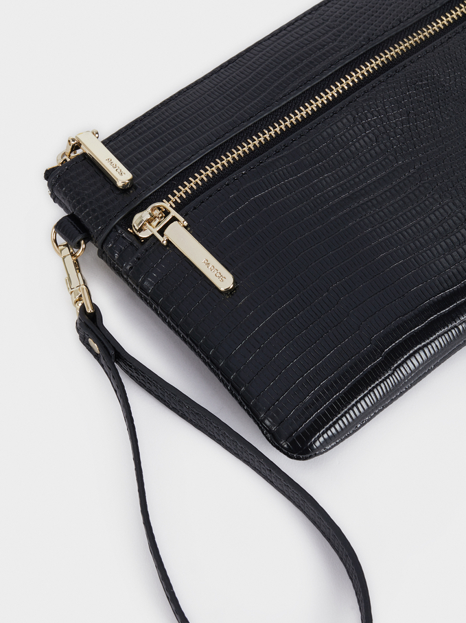 Cosmetic Purse With Wrist Strap, Black, hi-res