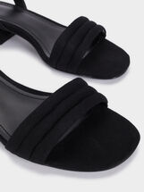 Low-Heel Sandals With Straps, Black, hi-res