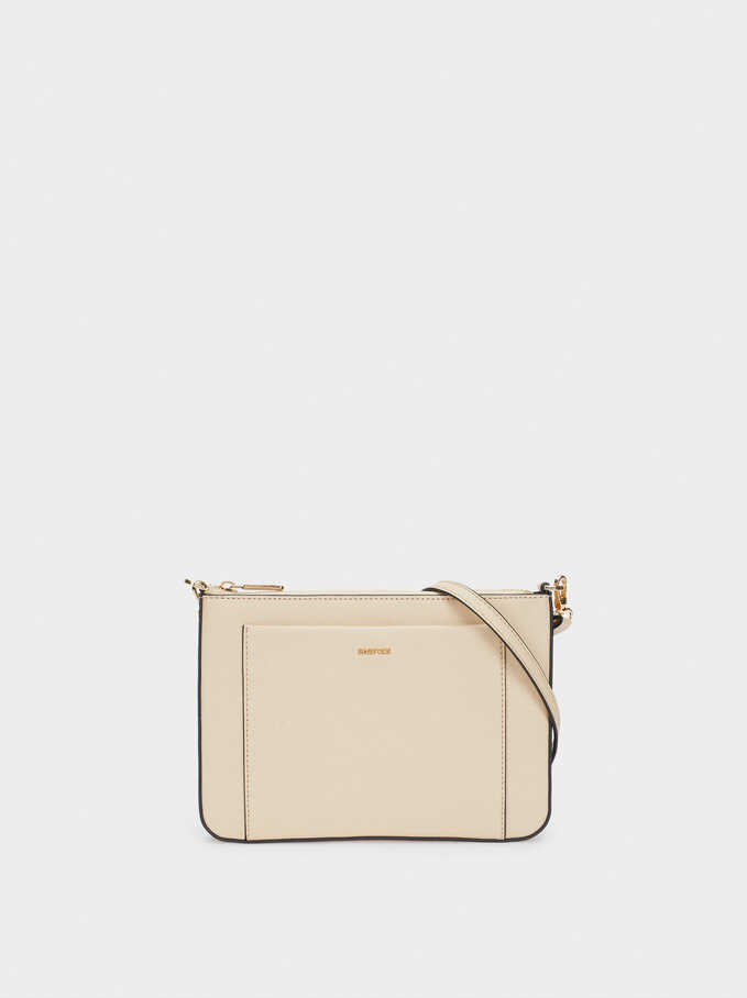 Shoulder Bag With Outer Pocket, Ecru, hi-res