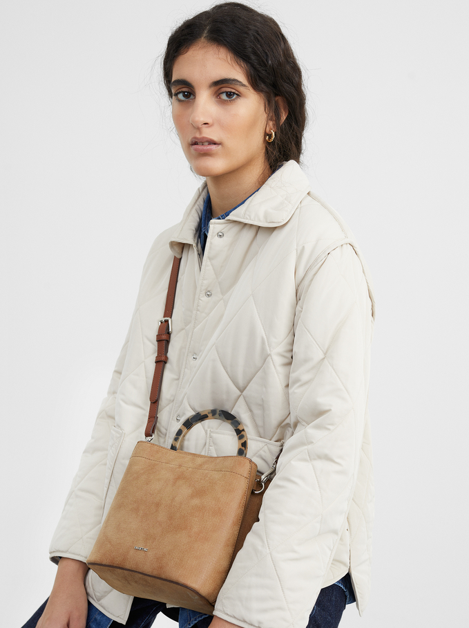 Faux Leather Bucket Bag, Camel, hi-res