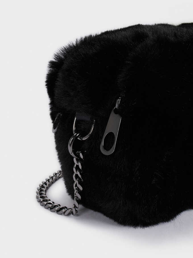 Faux Fur Crossbody Bag With Chain Handle, Black, hi-res