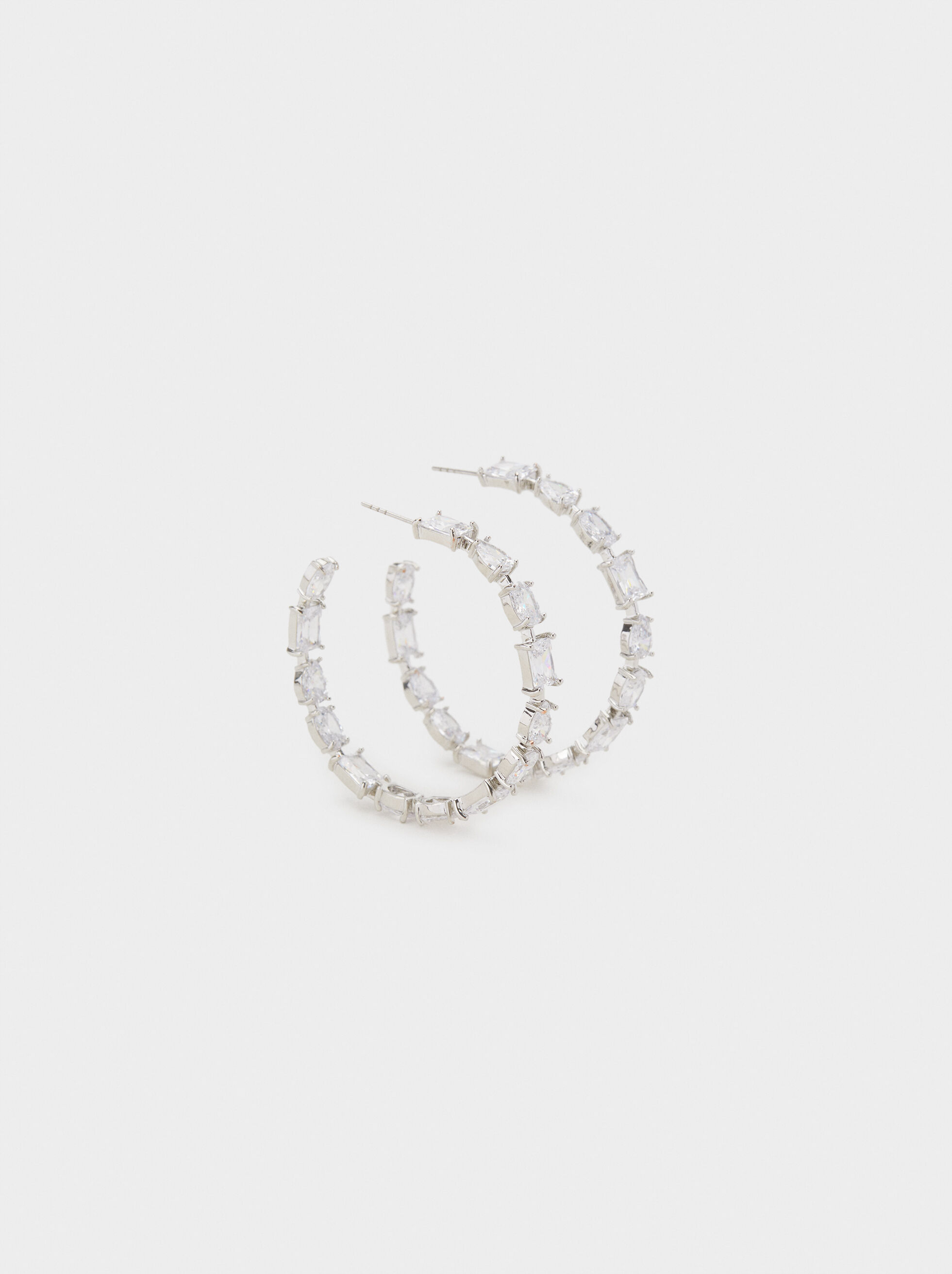 Sparkling Large Hoop Earrings, Silver, hi-res