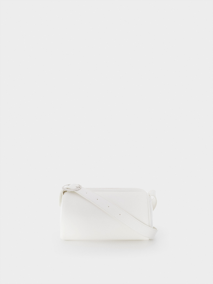 Party Shoulder Bag With Zip Fastening, White, hi-res