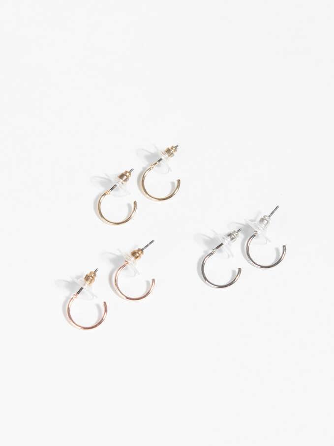 Basic Short Hoop-Earrings, Multicolor, hi-res