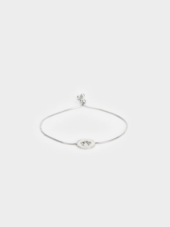 Adjustable Steel Bracelet With Cherub Charm, Silver, hi-res