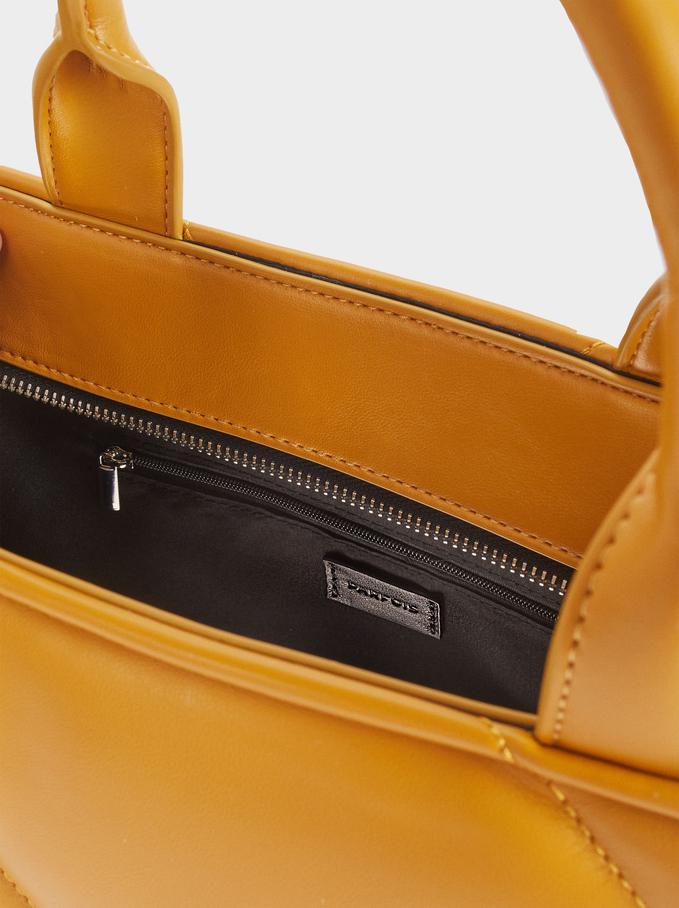 Quilted Shoulder Bag With Shoulder Strap, Yellow, hi-res